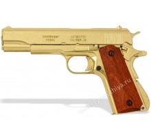 Пистолет Кольт м1911а1 золотой 45 калибра (Colt m1911a1) деревянные накладки разборный