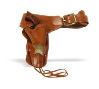 Патронташ кожаный коричневый с 1 кобурой