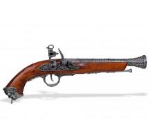 Пистолет кремневый пиратский Италия 18 в. хром