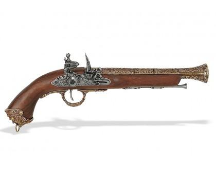 Пистолет кремневый пиратский Италия 18 в. латунь