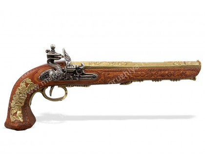 Пистоль дуэльный кремневый Бутэ Франция 1810 г. латунь