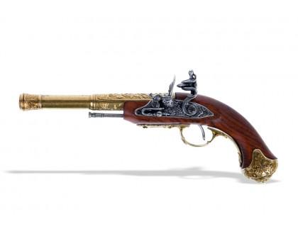 Пистолет кремневый под левую руку Индия латунь