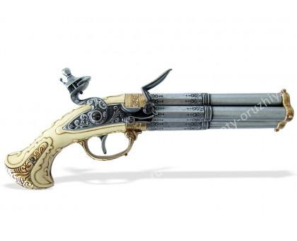 Пистолет четырехствольный кремневый Франция 18 в. слоновая кость