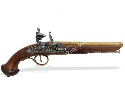 Пистолет кремниевый 18 в. классический латунь