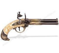 Пистолет трехствольный кремневый Франция 18 в. слоновая кость